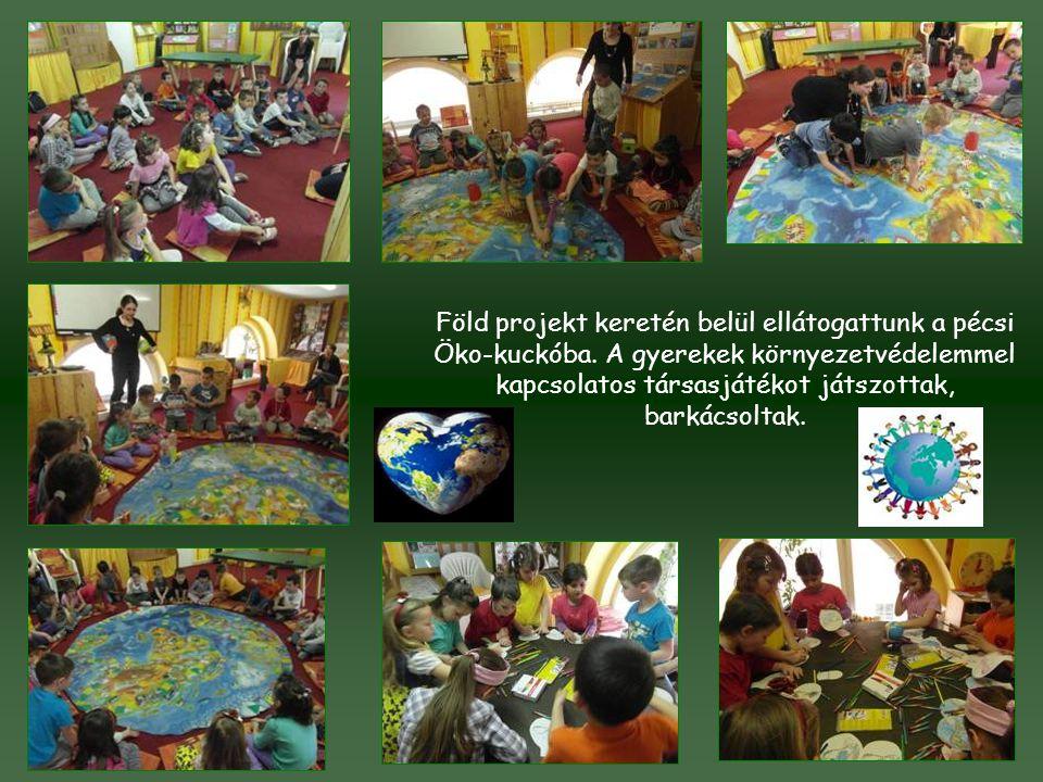 Föld projekt keretén belül ellátogattunk a pécsi Öko-kuckóba. A gyerekek környezetvédelemmel kapcsolatos társasjátékot játszottak, barkácsoltak.