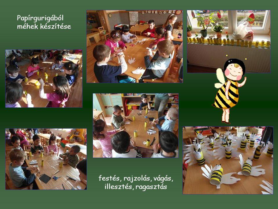 festés, rajzolás, vágás, illesztés, ragasztás Papírgurigából méhek készítése