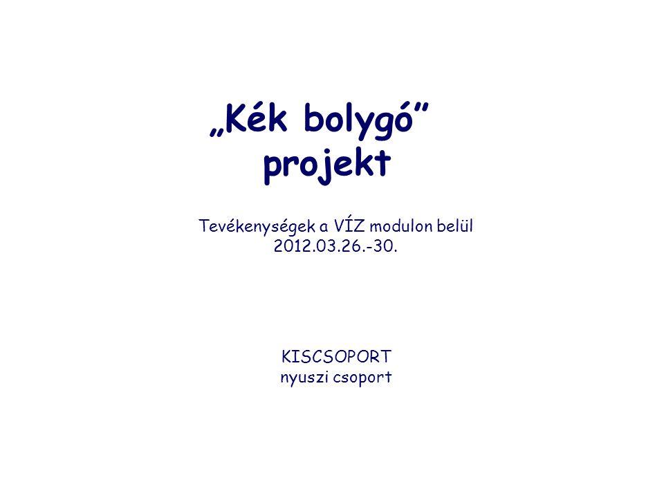 """""""Kék bolygó"""" projekt Tevékenységek a VÍZ modulon belül 2012.03.26.-30. KISCSOPORT nyuszi csoport"""