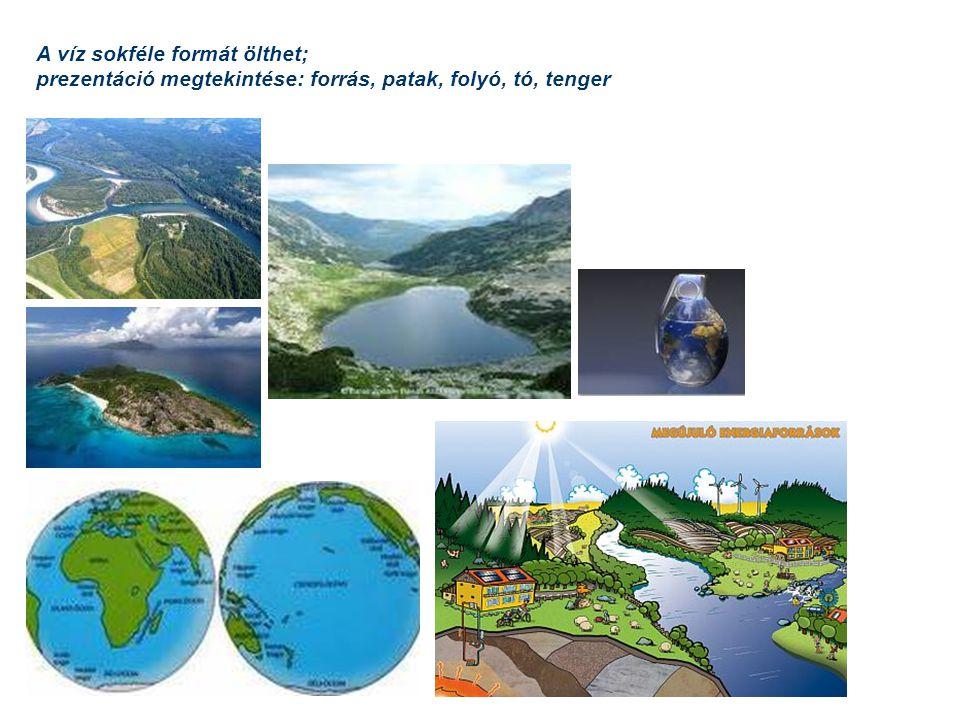 A víz sokféle formát ölthet; prezentáció megtekintése: forrás, patak, folyó, tó, tenger