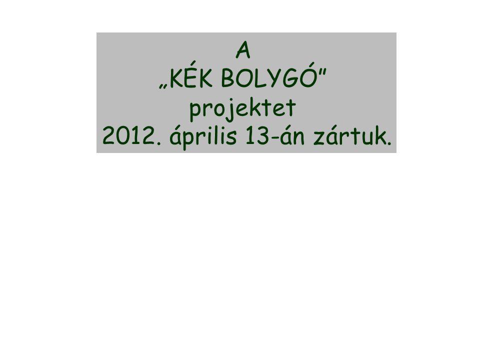 """A """"KÉK BOLYGÓ"""" projektet 2012. április 13-án zártuk."""