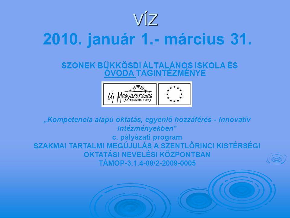 """VÍZ VÍZ 2010. január 1.- március 31. SZONEK BÜKKÖSDI ÁLTALÁNOS ISKOLA ÉS ÓVODA TAGINTÉZMÉNYE """"Kompetencia alapú oktatás, egyenlő hozzáférés - Innovatí"""