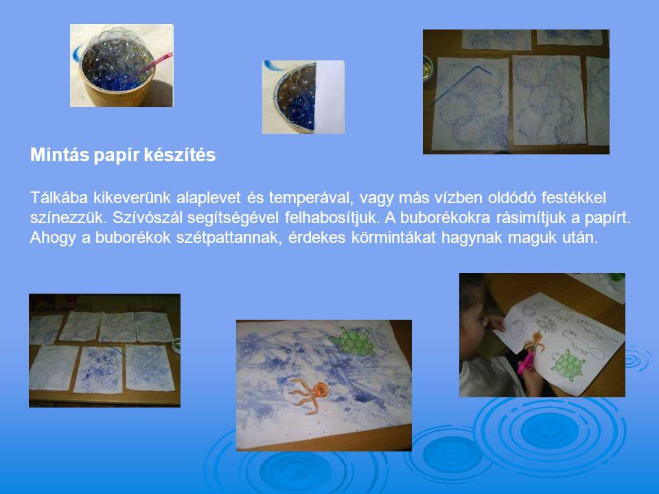 Mintás papír készítés Tálkába kikeverünk alaplevet és temperával, vagy más vízben oldódó festékkel színezzük. Szívószál segítségével felhabosítjuk. A