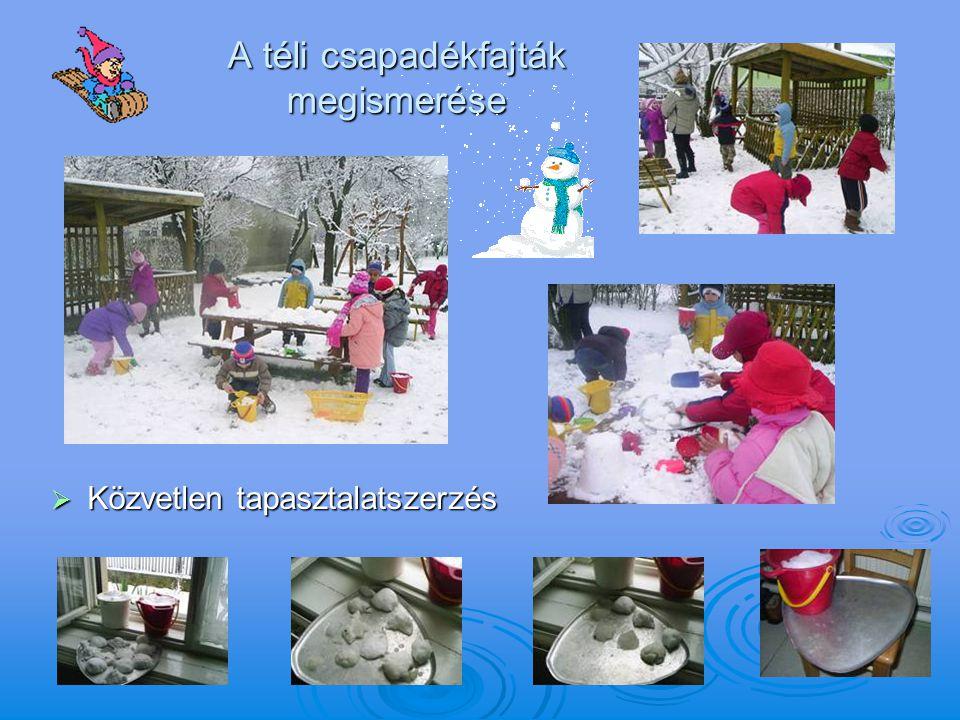 A téli csapadékfajták megismerése  Közvetlen tapasztalatszerzés