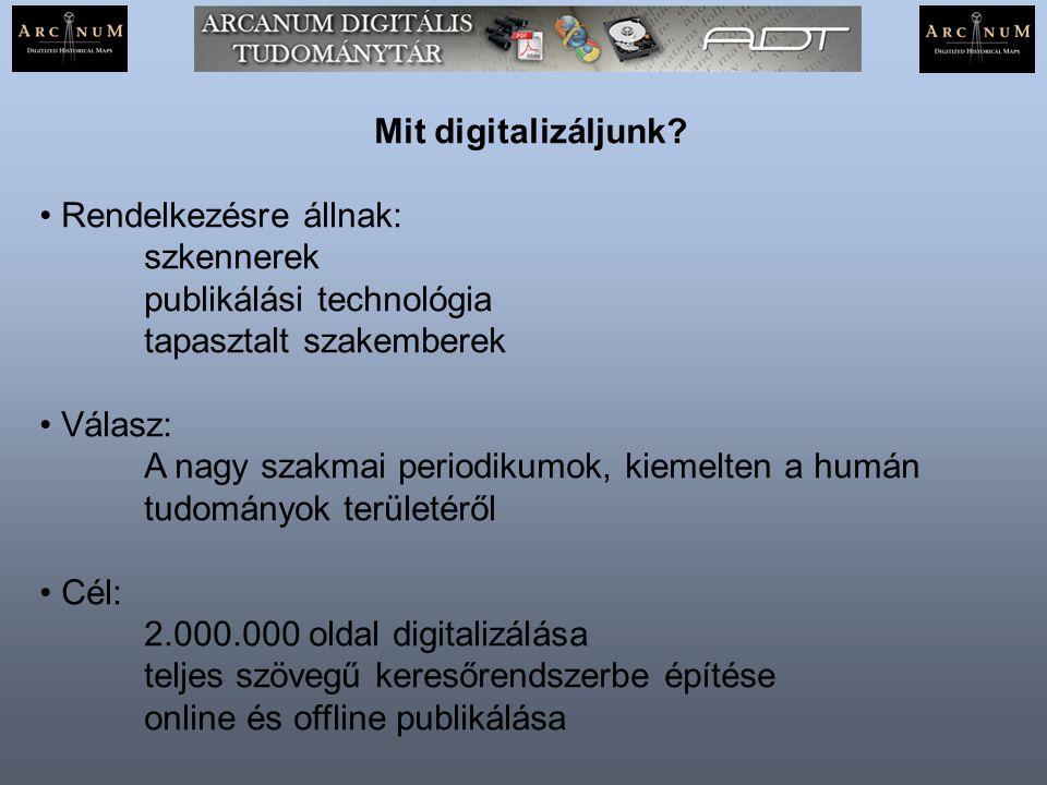 Mit digitalizáljunk? Rendelkezésre állnak: szkennerek publikálási technológia tapasztalt szakemberek Válasz: A nagy szakmai periodikumok, kiemelten a