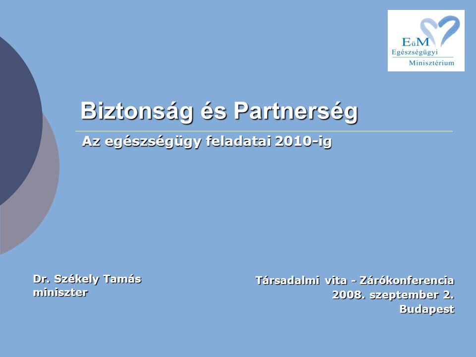 Biztonság és Partnerség Társadalmi vita - Zárókonferencia 2008. szeptember 2. Budapest Az egészségügy feladatai 2010-ig Dr. Székely Tamás miniszter