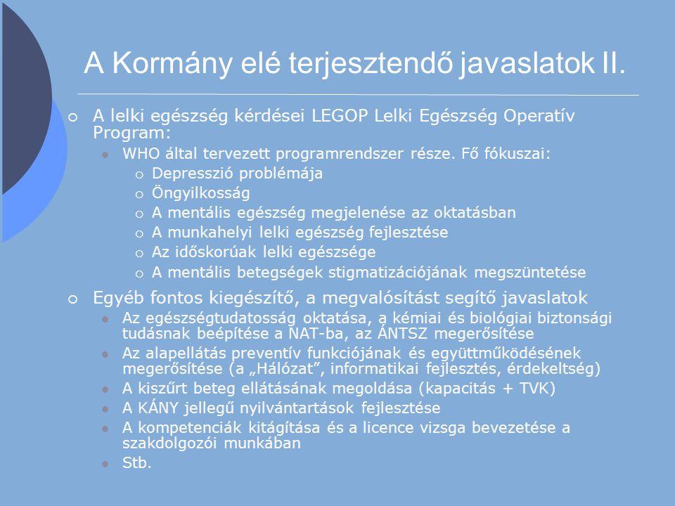 A Kormány elé terjesztendő javaslatok II.  A lelki egészség kérdései LEGOP Lelki Egészség Operatív Program: WHO által tervezett programrendszer része