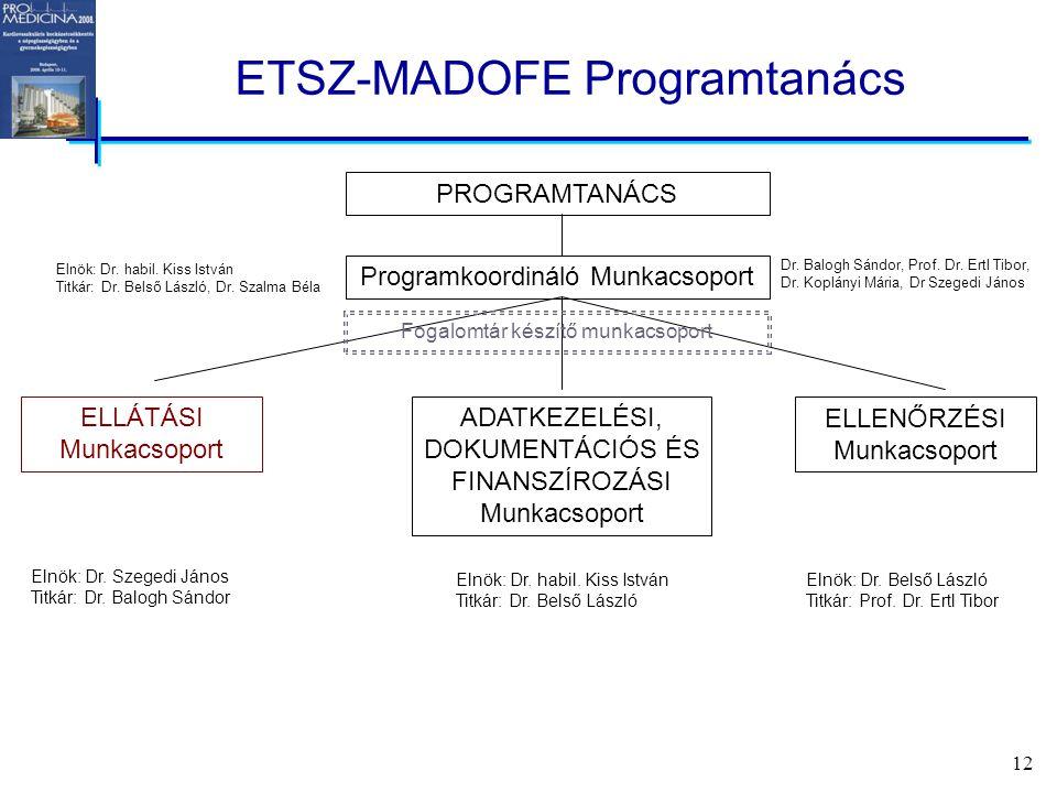 12 ETSZ-MADOFE Programtanács Programkoordináló Munkacsoport PROGRAMTANÁCS ELLÁTÁSI Munkacsoport ADATKEZELÉSI, DOKUMENTÁCIÓS ÉS FINANSZÍROZÁSI Munkacsoport ELLENŐRZÉSI Munkacsoport Elnök: Dr.