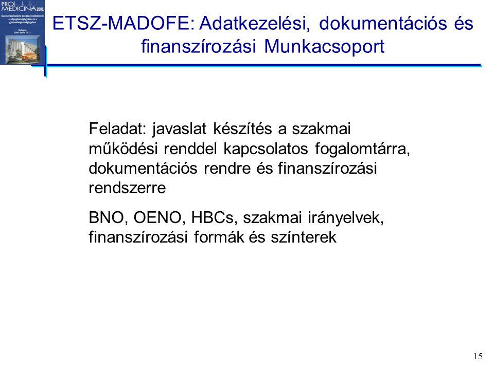 15 ETSZ-MADOFE: Adatkezelési, dokumentációs és finanszírozási Munkacsoport Feladat: javaslat készítés a szakmai működési renddel kapcsolatos fogalomtárra, dokumentációs rendre és finanszírozási rendszerre BNO, OENO, HBCs, szakmai irányelvek, finanszírozási formák és színterek