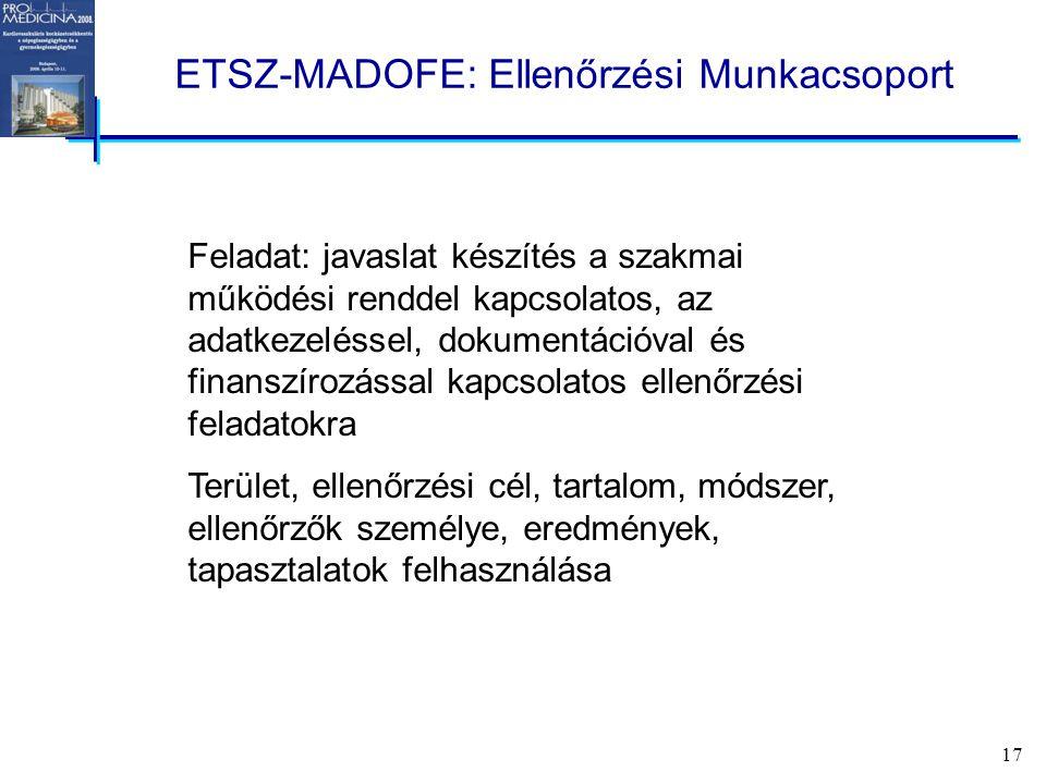 17 ETSZ-MADOFE: Ellenőrzési Munkacsoport Feladat: javaslat készítés a szakmai működési renddel kapcsolatos, az adatkezeléssel, dokumentációval és finanszírozással kapcsolatos ellenőrzési feladatokra Terület, ellenőrzési cél, tartalom, módszer, ellenőrzők személye, eredmények, tapasztalatok felhasználása