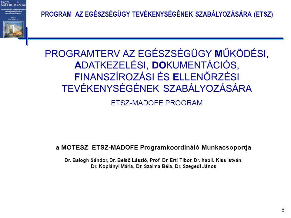 6 a MOTESZ ETSZ-MADOFE Programkoordináló Munkacsoportja Dr.