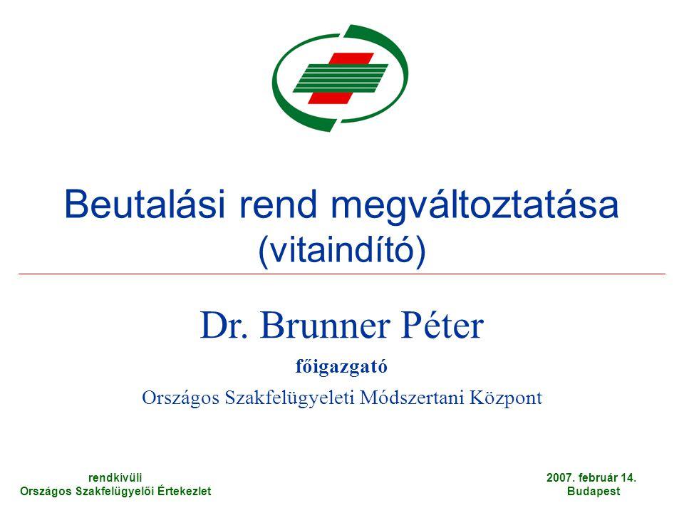 Beutalási rend megváltoztatása (vitaindító) Dr.