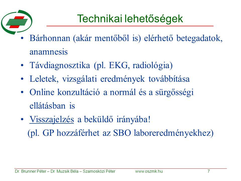 Technikai lehetőségek Bárhonnan (akár mentőből is) elérhető betegadatok, anamnesis Távdiagnosztika (pl.