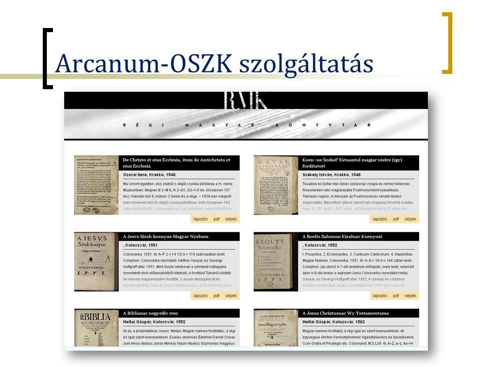 Arcanum-OSZK szolgáltatás