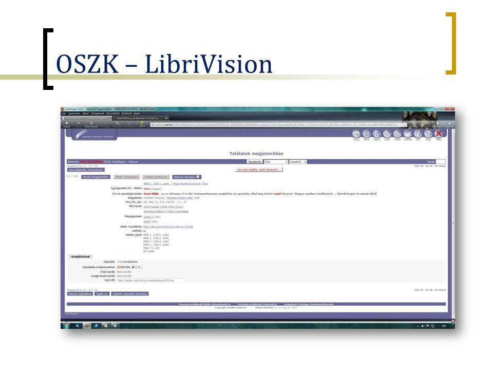 NKA-OSZK projekt (2013)  NKA-pályázat, 5M  RMK I.