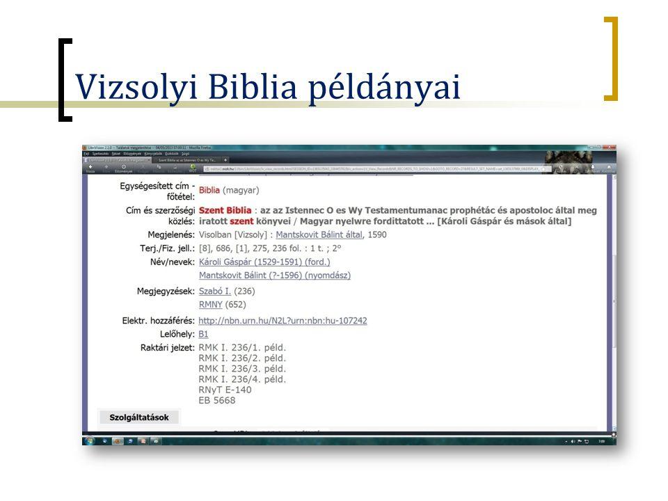 Vizsolyi Biblia példányai