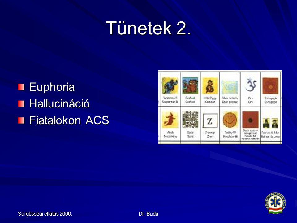 Sürgősségi ellátás 2006. Dr. Buda Tünetek 2. EuphoriaHallucináció Fiatalokon ACS