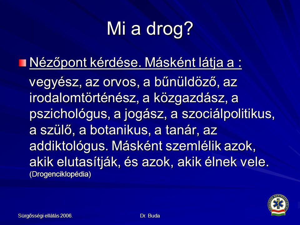 Sürgősségi ellátás 2006.Dr. Buda Mi a drog. Nézőpont kérdése.