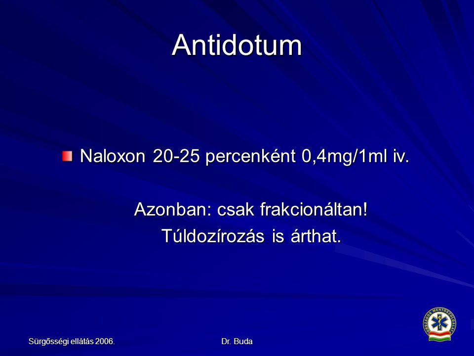 Sürgősségi ellátás 2006.Dr. Buda Antidotum Naloxon 20-25 percenként 0,4mg/1ml iv.