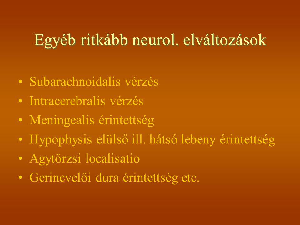 Egyéb ritkább neurol. elváltozások Subarachnoidalis vérzés Intracerebralis vérzés Meningealis érintettség Hypophysis elülső ill. hátsó lebeny érintett