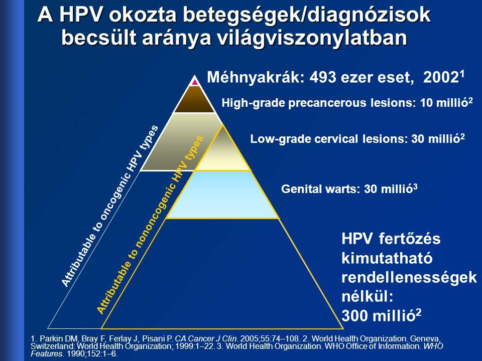 A HPV okozta betegségek/diagnózisok becsült aránya világviszonylatban Méhnyakrák: 493 ezer eset, 2002 1 High-grade precancerous lesions: 10 millió 2 L
