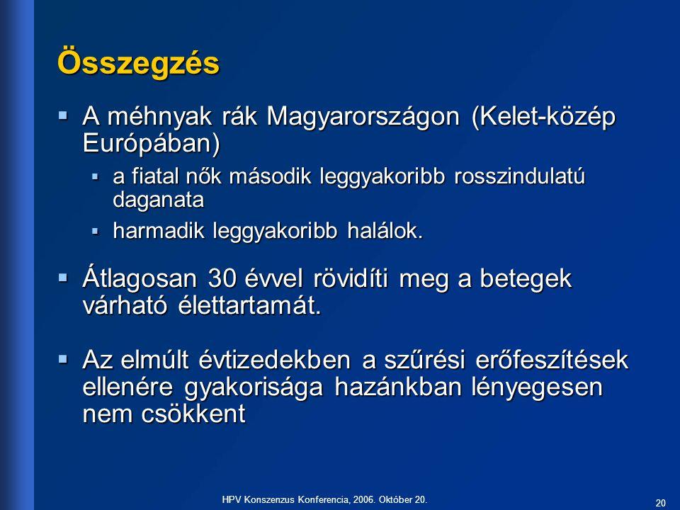 20 HPV Konszenzus Konferencia, 2006. Október 20. Összegzés  A méhnyak rák Magyarországon (Kelet-közép Európában)  a fiatal nők második leggyakoribb
