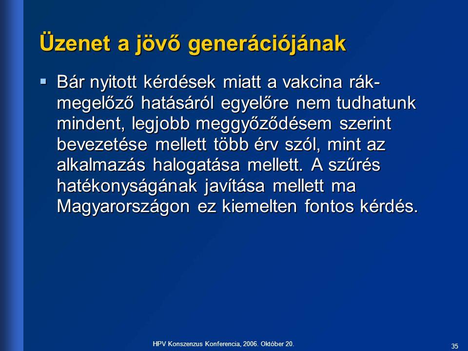 35 HPV Konszenzus Konferencia, 2006. Október 20. Üzenet a jövő generációjának  Bár nyitott kérdések miatt a vakcina rák- megelőző hatásáról egyelőre