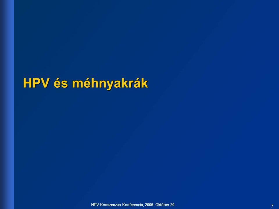 7 HPV Konszenzus Konferencia, 2006. Október 20. HPV és méhnyakrák