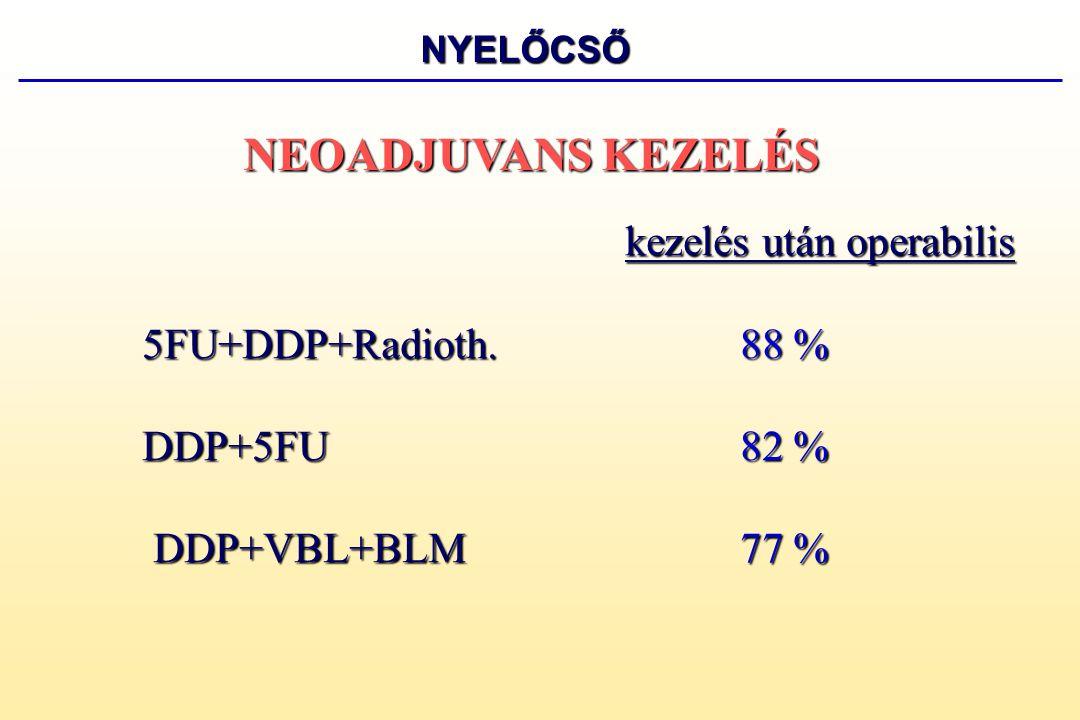 kezelés után operabilis 5FU+DDP62 % FLEP55 % FLEP 55 % E+A+DDP42 % NEOADJUVANS KEZELÉS GYOMOR