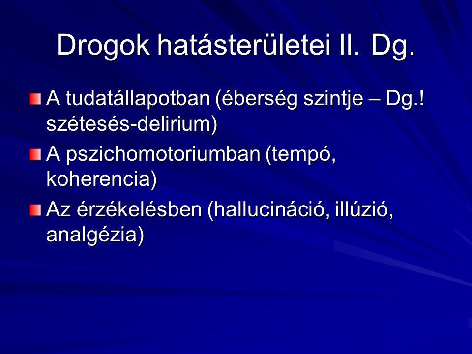 Drogok hatásterületei II. Dg. A tudatállapotban (éberség szintje – Dg.! szétesés-delirium) A pszichomotoriumban (tempó, koherencia) Az érzékelésben (h