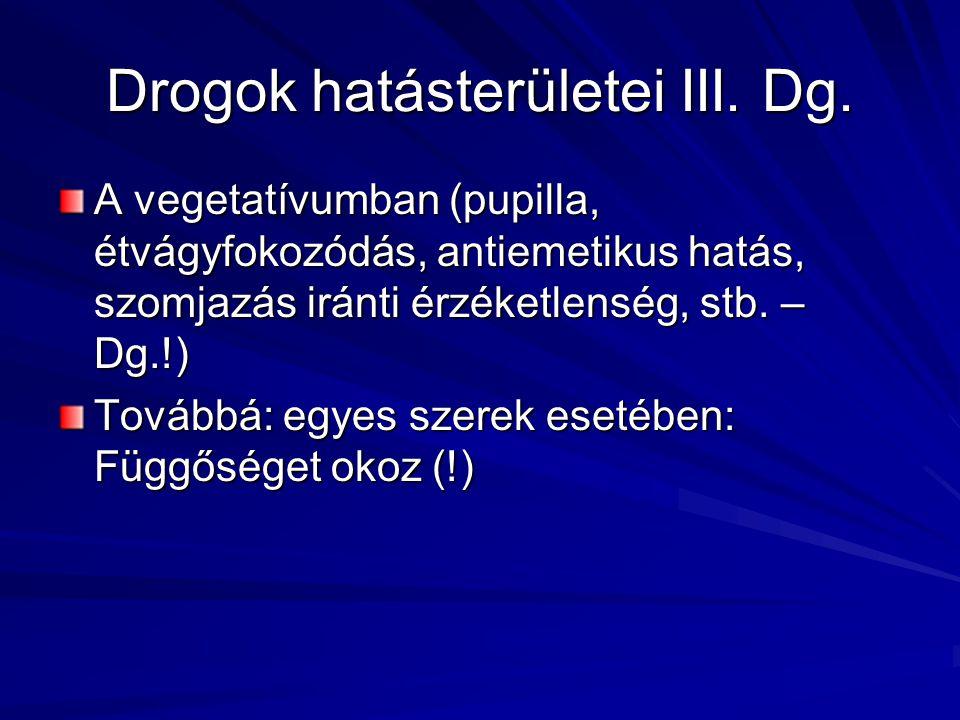 Drogok hatásterületei III. Dg. A vegetatívumban (pupilla, étvágyfokozódás, antiemetikus hatás, szomjazás iránti érzéketlenség, stb. – Dg.!) Továbbá: e