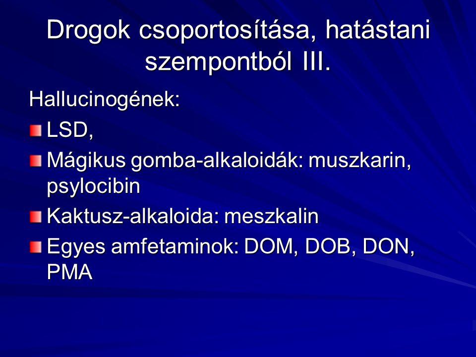 Drogok csoportosítása, hatástani szempontból III. Hallucinogének:LSD, Mágikus gomba-alkaloidák: muszkarin, psylocibin Kaktusz-alkaloida: meszkalin Egy