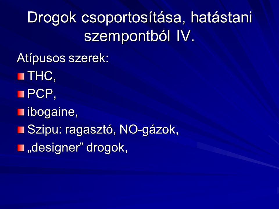 """Drogok csoportosítása, hatástani szempontból IV. Atípusos szerek: THC,PCP,ibogaine, Szipu: ragasztó, NO-gázok, """"designer"""" drogok,"""