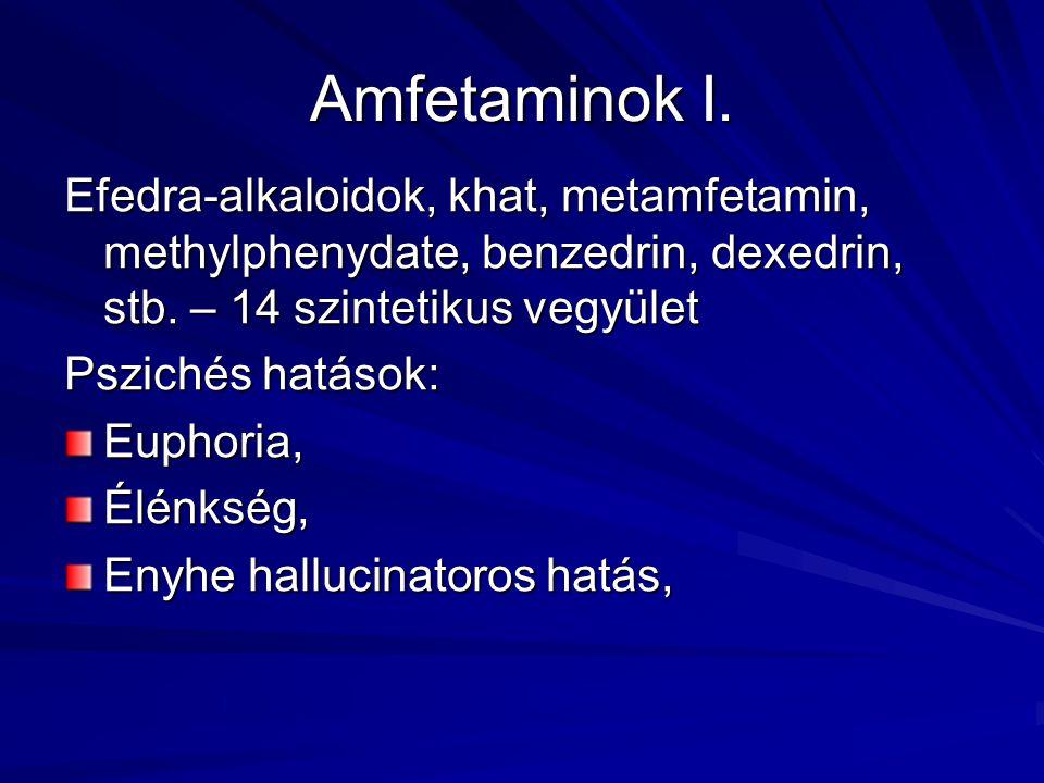 Amfetaminok I. Efedra-alkaloidok, khat, metamfetamin, methylphenydate, benzedrin, dexedrin, stb. – 14 szintetikus vegyület Pszichés hatások: Euphoria,