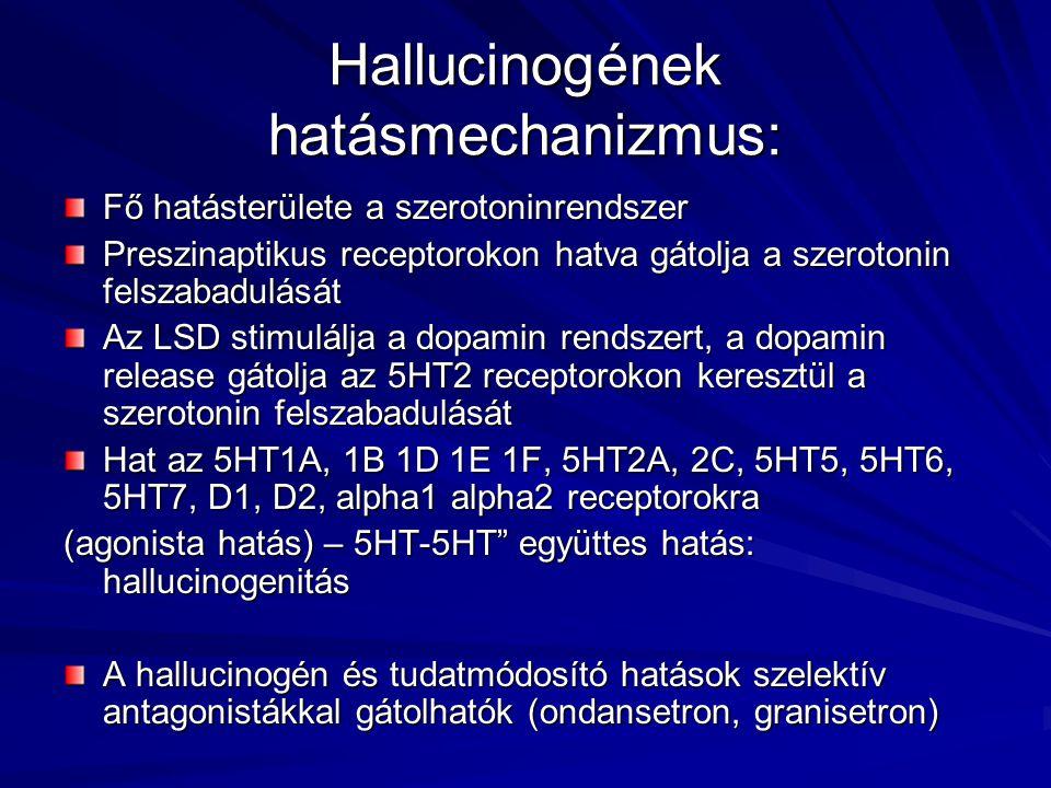 Hallucinogének hatásmechanizmus: Fő hatásterülete a szerotoninrendszer Preszinaptikus receptorokon hatva gátolja a szerotonin felszabadulását Az LSD stimulálja a dopamin rendszert, a dopamin release gátolja az 5HT2 receptorokon keresztül a szerotonin felszabadulását Hat az 5HT1A, 1B 1D 1E 1F, 5HT2A, 2C, 5HT5, 5HT6, 5HT7, D1, D2, alpha1 alpha2 receptorokra (agonista hatás) – 5HT-5HT együttes hatás: hallucinogenitás A hallucinogén és tudatmódosító hatások szelektív antagonistákkal gátolhatók (ondansetron, granisetron)