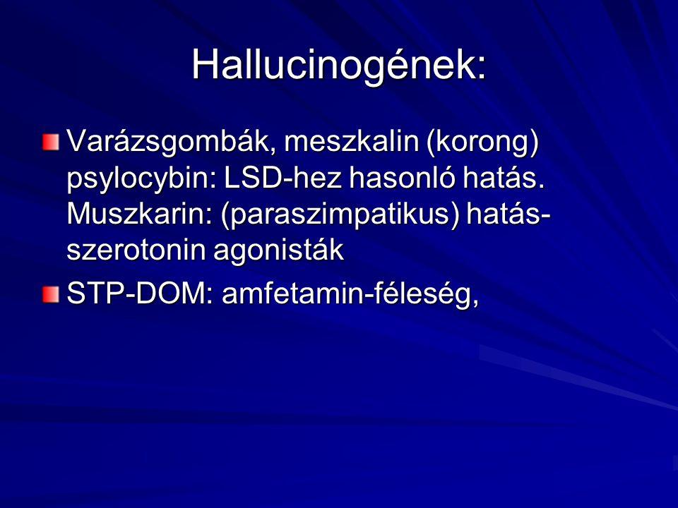 Hallucinogének: Varázsgombák, meszkalin (korong) psylocybin: LSD-hez hasonló hatás. Muszkarin: (paraszimpatikus) hatás- szerotonin agonisták STP-DOM: