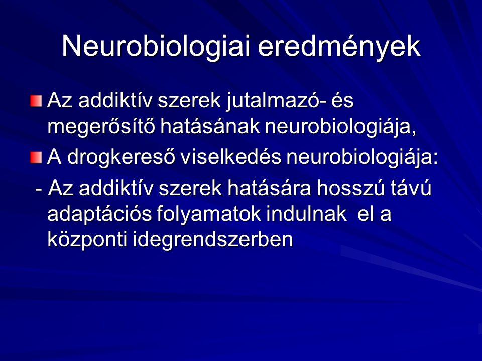 Neurobiologiai eredmények Az addiktív szerek jutalmazó- és megerősítő hatásának neurobiologiája, A drogkereső viselkedés neurobiologiája: - Az addiktív szerek hatására hosszú távú adaptációs folyamatok indulnak el a központi idegrendszerben - Az addiktív szerek hatására hosszú távú adaptációs folyamatok indulnak el a központi idegrendszerben