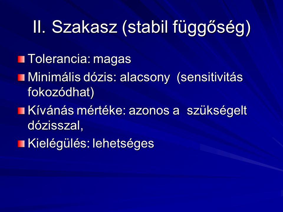 II. Szakasz (stabil függőség) Tolerancia: magas Minimális dózis: alacsony (sensitivitás fokozódhat) Kívánás mértéke: azonos a szükségelt dózisszal, Ki