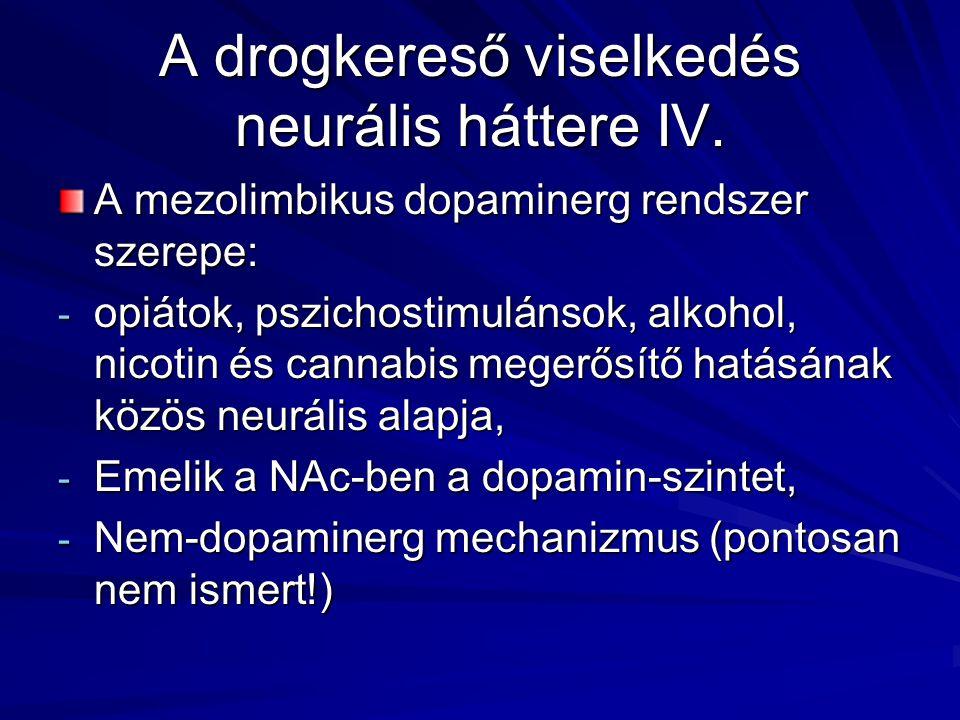 A drogkereső viselkedés neurális háttere IV. A mezolimbikus dopaminerg rendszer szerepe: - opiátok, pszichostimulánsok, alkohol, nicotin és cannabis m