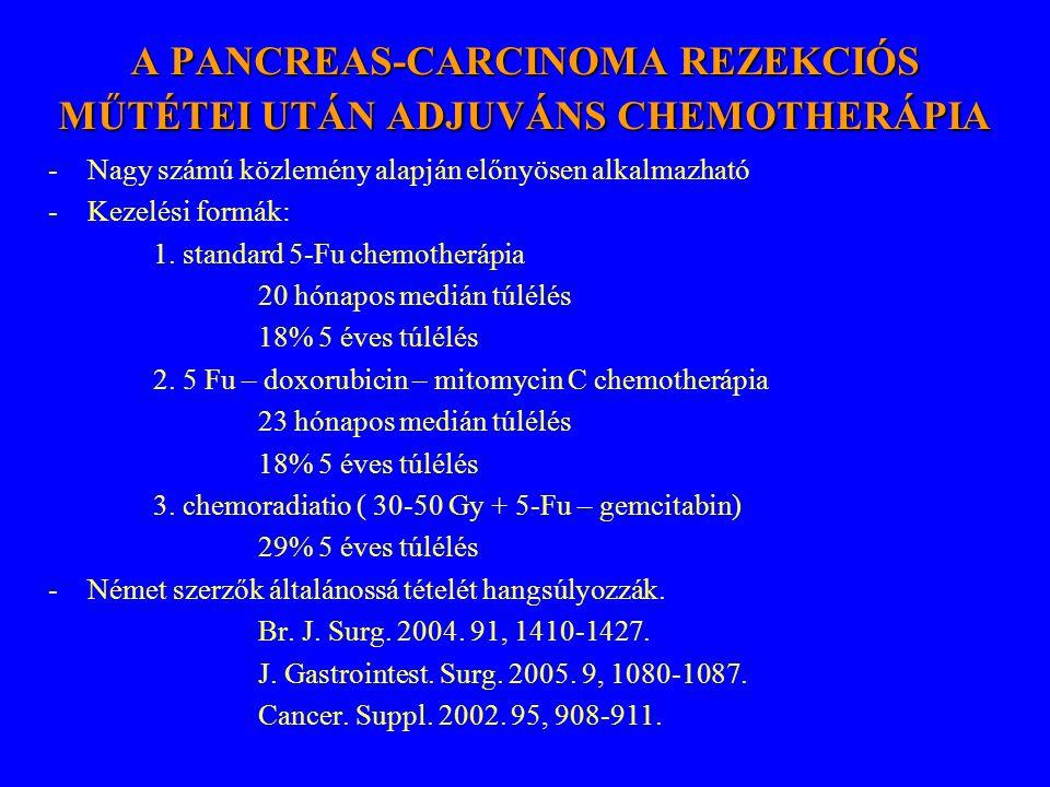 A PANCREAS-CARCINOMA REZEKCIÓS MŰTÉTEI UTÁN ADJUVÁNS CHEMOTHERÁPIA -Nagy számú közlemény alapján előnyösen alkalmazható -Kezelési formák: 1. standard