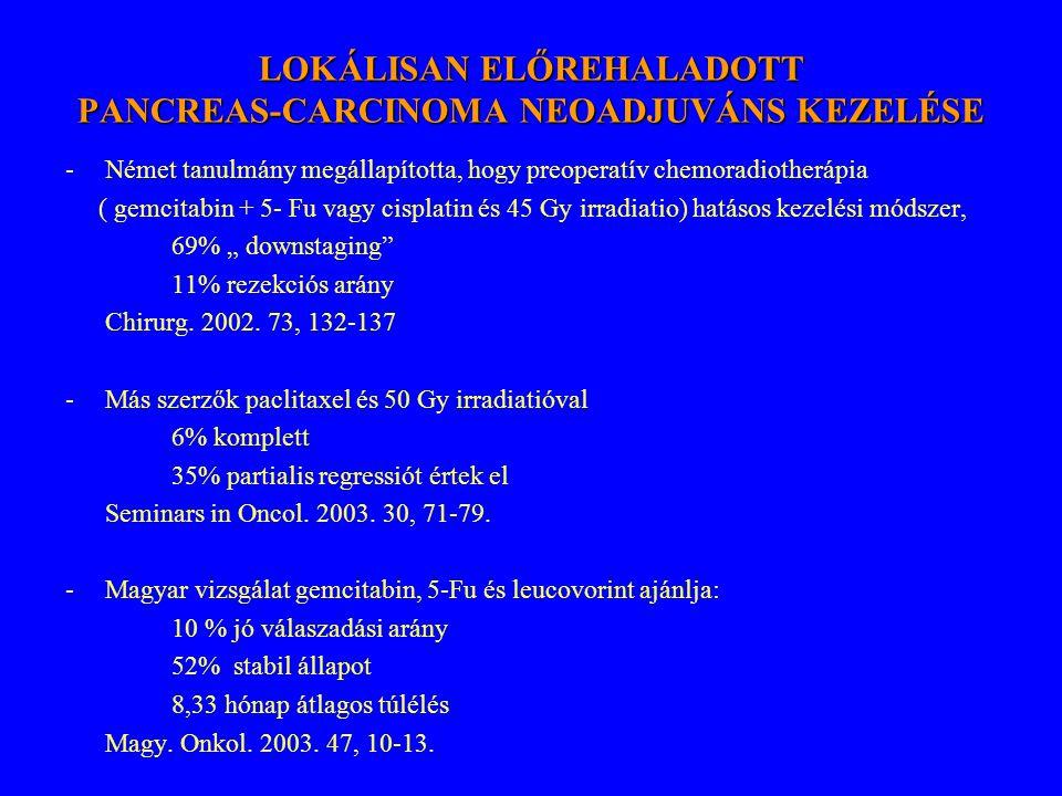 LOKÁLISAN ELŐREHALADOTT PANCREAS-CARCINOMA NEOADJUVÁNS KEZELÉSE -Német tanulmány megállapította, hogy preoperatív chemoradiotherápia ( gemcitabin + 5-