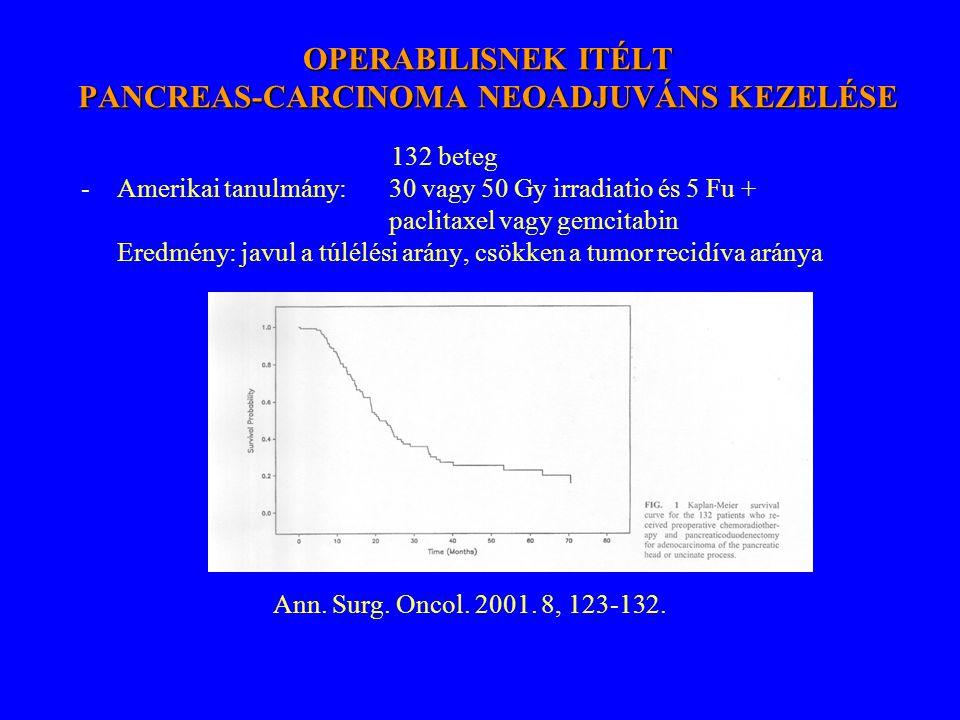 OPERABILISNEK ITÉLT PANCREAS-CARCINOMA NEOADJUVÁNS KEZELÉSE 132 beteg -Amerikai tanulmány: 30 vagy 50 Gy irradiatio és 5 Fu + paclitaxel vagy gemcitab