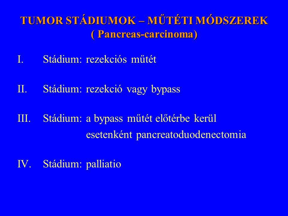 TUMOR STÁDIUMOK – MŰTÉTI MÓDSZEREK ( Pancreas-carcinoma) I.Stádium: rezekciós műtét II.Stádium: rezekció vagy bypass III.Stádium: a bypass műtét előté