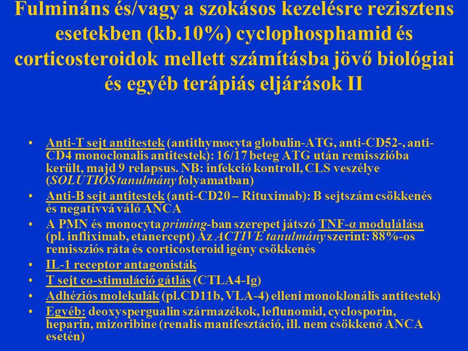 Fulmináns és/vagy a szokásos kezelésre rezisztens esetekben (kb.10%) cyclophosphamid és corticosteroidok mellett számításba jövő biológiai és egyéb terápiás eljárások II Anti-T sejt antitestek (antithymocyta globulin-ATG, anti-CD52-, anti- CD4 monoclonalis antitestek): 16/17 beteg ATG után remisszióba került, majd 9 relapsus.