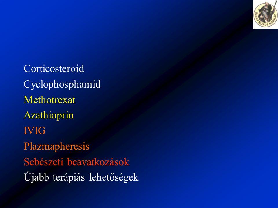 Corticosteroid Cyclophosphamid Methotrexat Azathioprin IVIG Plazmapheresis Sebészeti beavatkozások Újabb terápiás lehetőségek