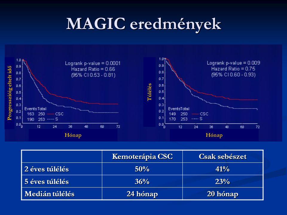 MAGIC eredmények Hónap Túlélés Progresszióig eltelt idő Kemoterápia CSC Csak sebészet 2 éves túlélés 50%41% 5 éves túlélés 36%23% Medián túlélés 24 hó