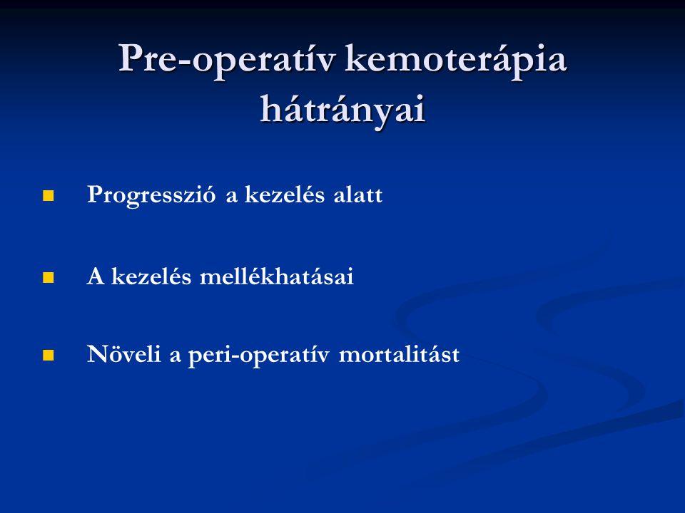 Pre-operatív kemoterápia hátrányai Progresszió a kezelés alatt A kezelés mellékhatásai Növeli a peri-operatív mortalitást