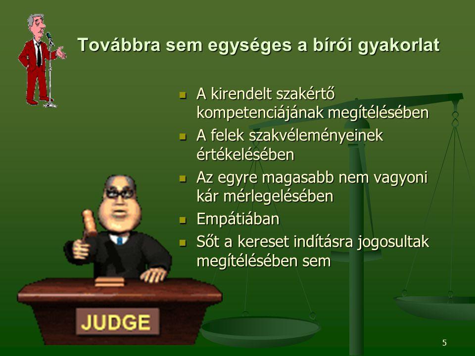 5 Továbbra sem egységes a bírói gyakorlat A kirendelt szakértő kompetenciájának megítélésében A felek szakvéleményeinek értékelésében Az egyre magasabb nem vagyoni kár mérlegelésében Empátiában Sőt a kereset indításra jogosultak megítélésében sem