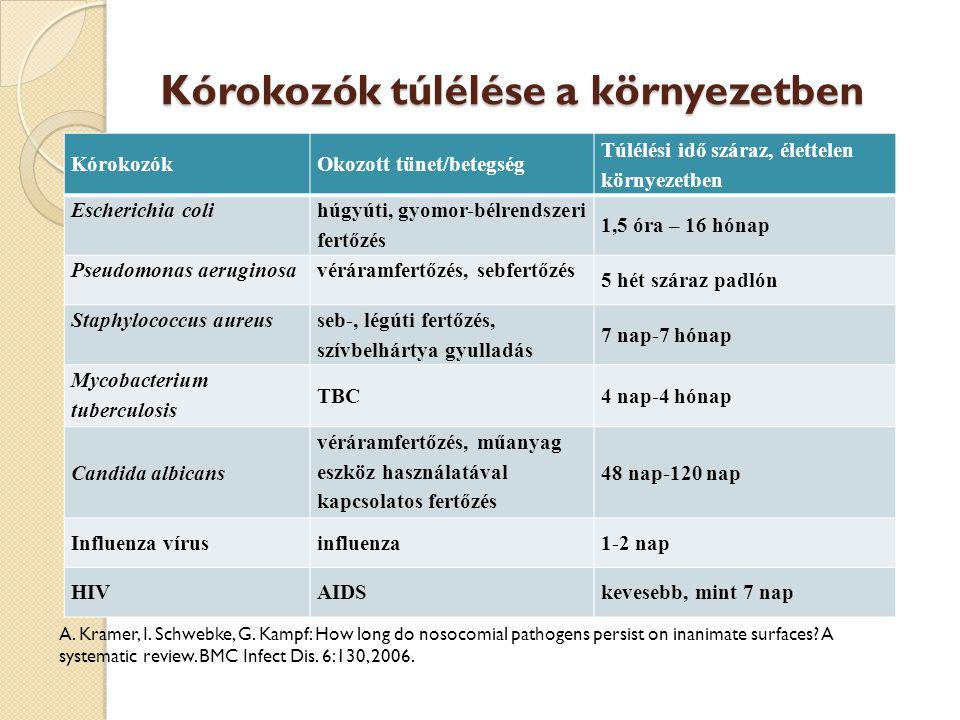 Kórokozók túlélése a környezetben KórokozókOkozott tünet/betegség Túlélési idő száraz, élettelen környezetben Escherichia coli húgyúti, gyomor-bélrend