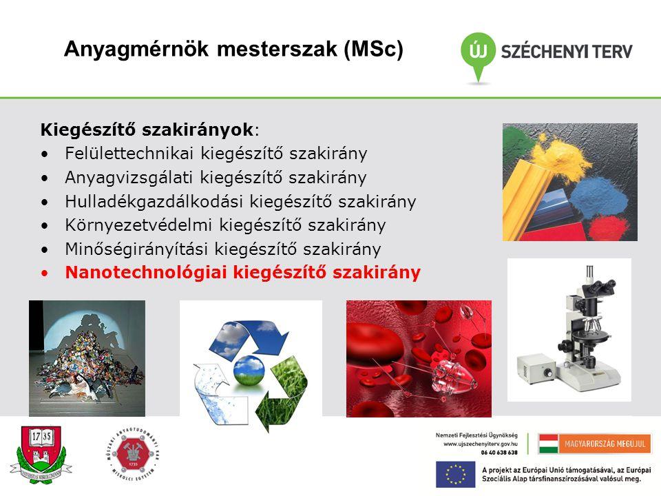 Anyagmérnök mesterszak (MSc) Anyagmérnöki területen 4 féléves képzés. A mesterképzésben az első félév elején a hallgatók szakirányt és kiegészítő szak